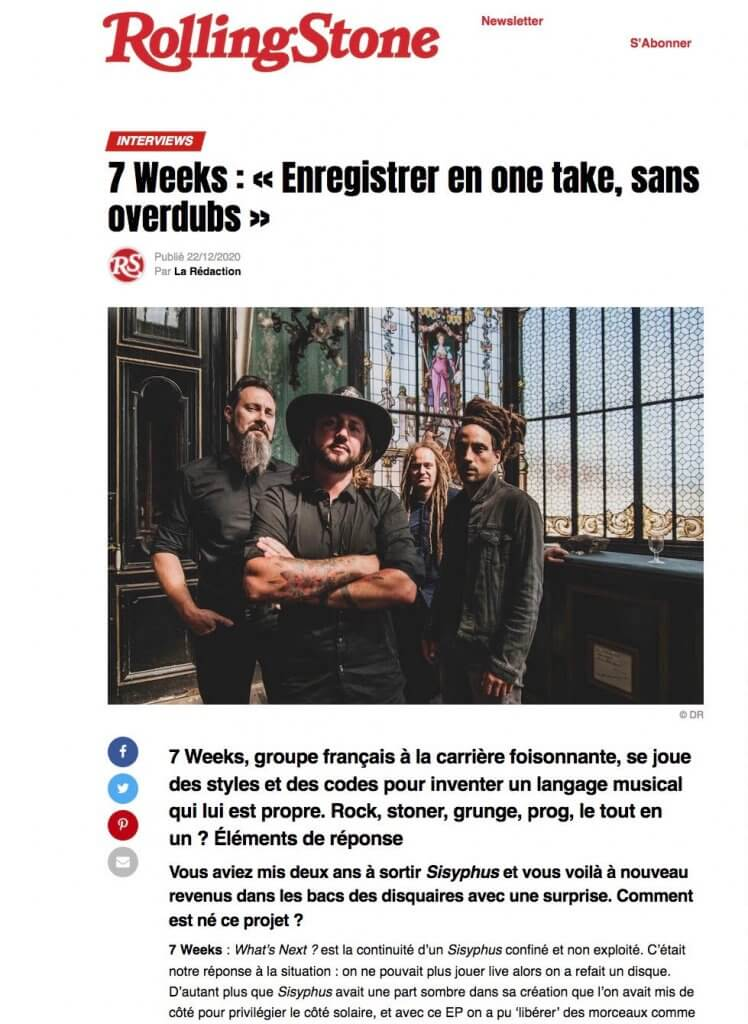 7Weeks interview rolling stone
